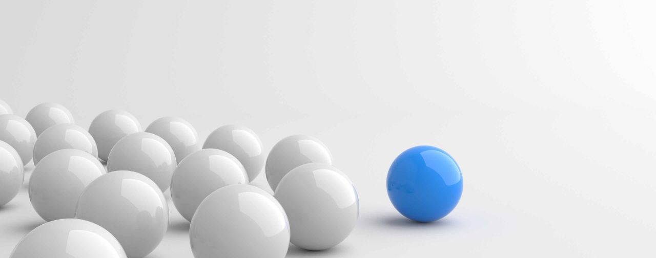 Blue Ball leading Among White Balls