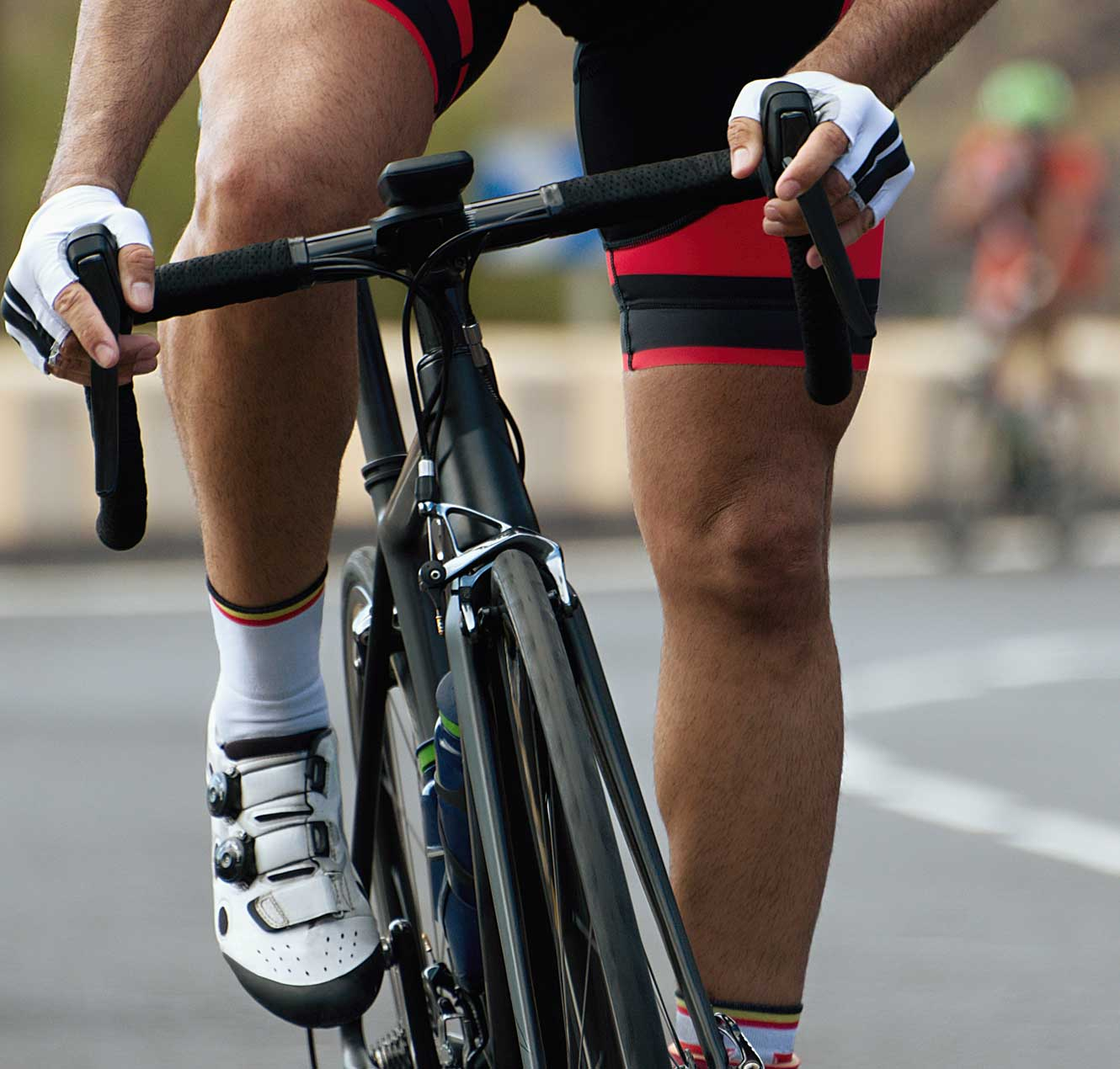 Close Up of a ongoing Cycle Race