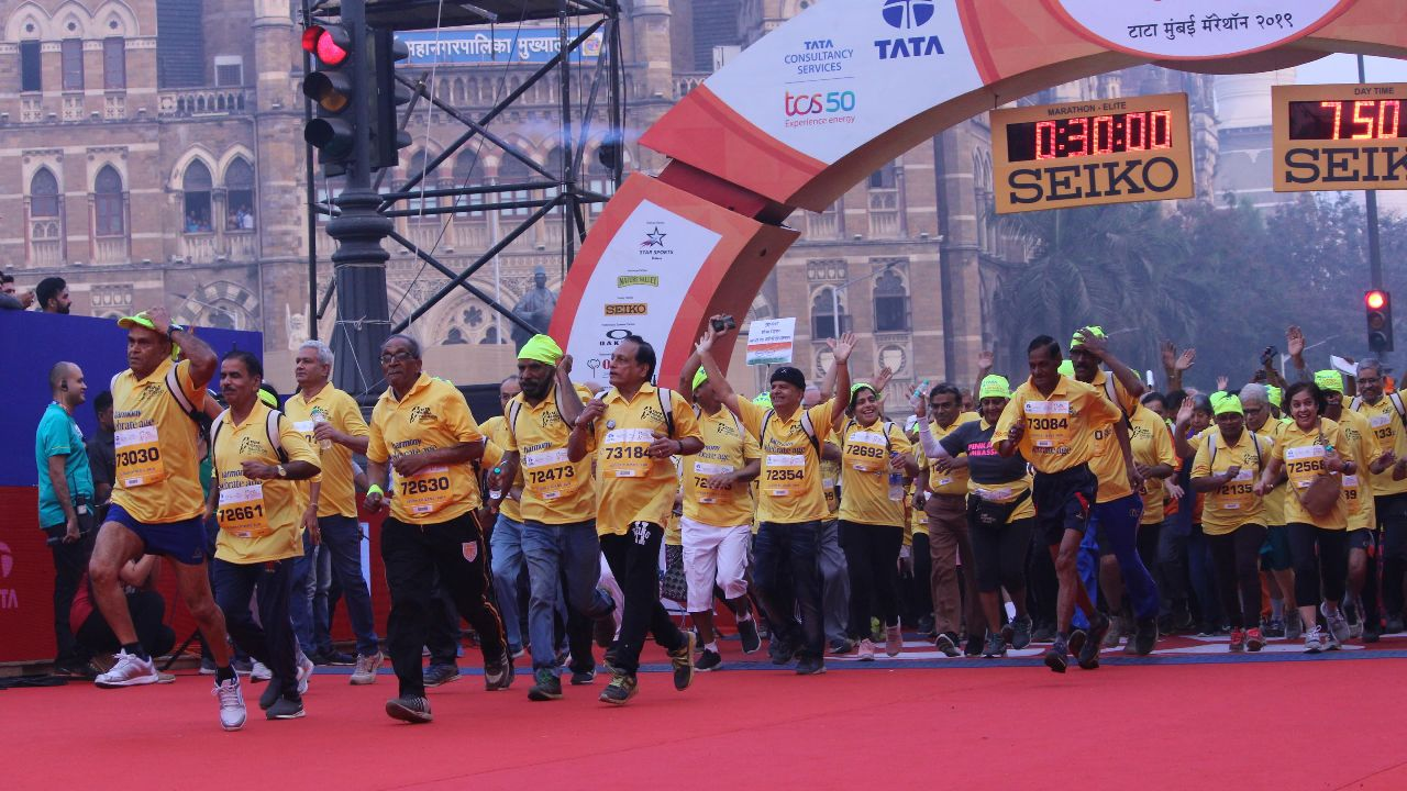 Photos of runners from Tata Mumbai Marathon 2019, including elite runners, amateur runners, and senior citizens