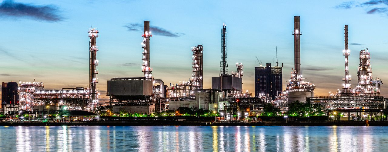 Oil and Gas Plant at Night