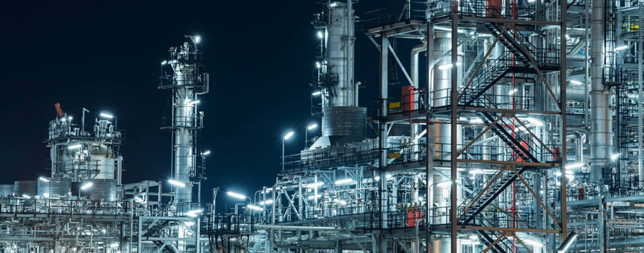 Night Shot of an Oil Refinery