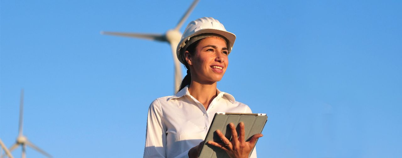 Energy worker using tablet
