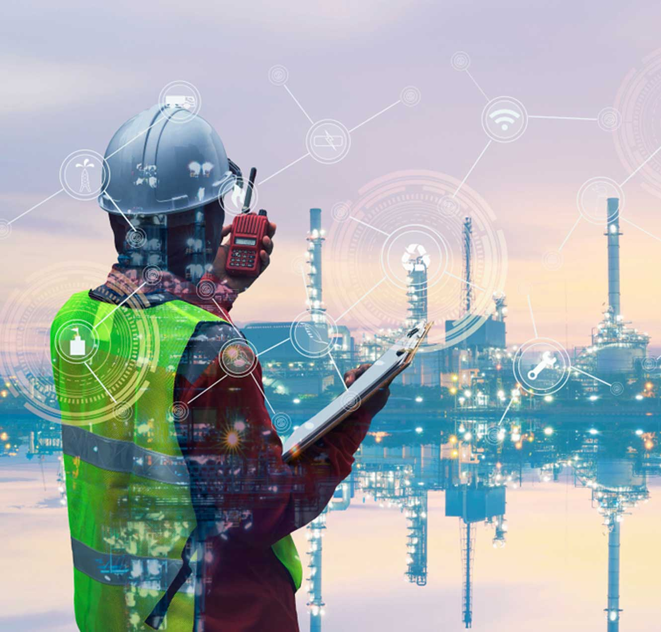 Engineer with oil refinery industry plant background, with tech icons on the image