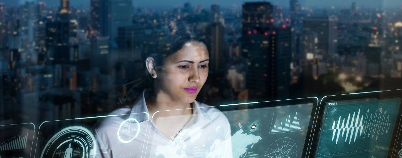Woman Looking at Futuristic Screen