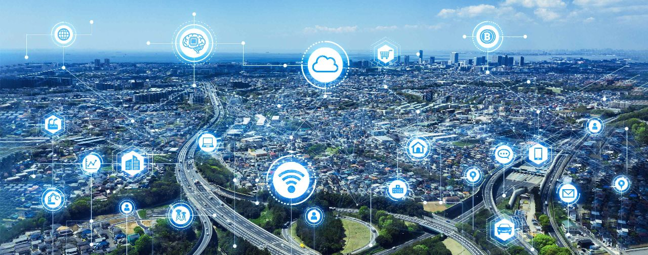 aerial view of digital smart city